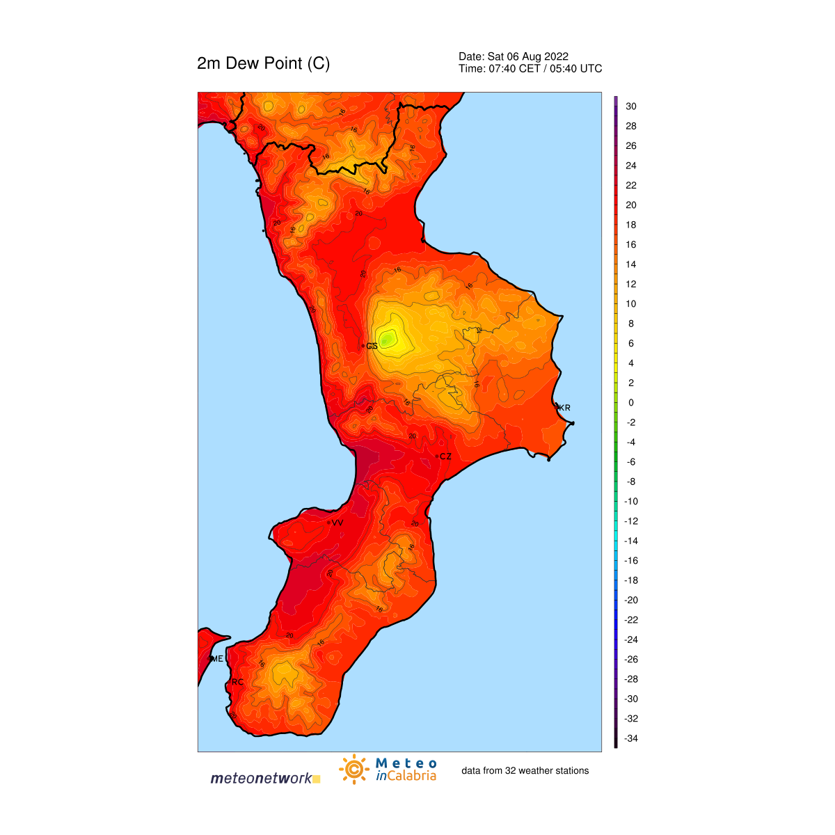 Mappa Live Dew Point in Calabria