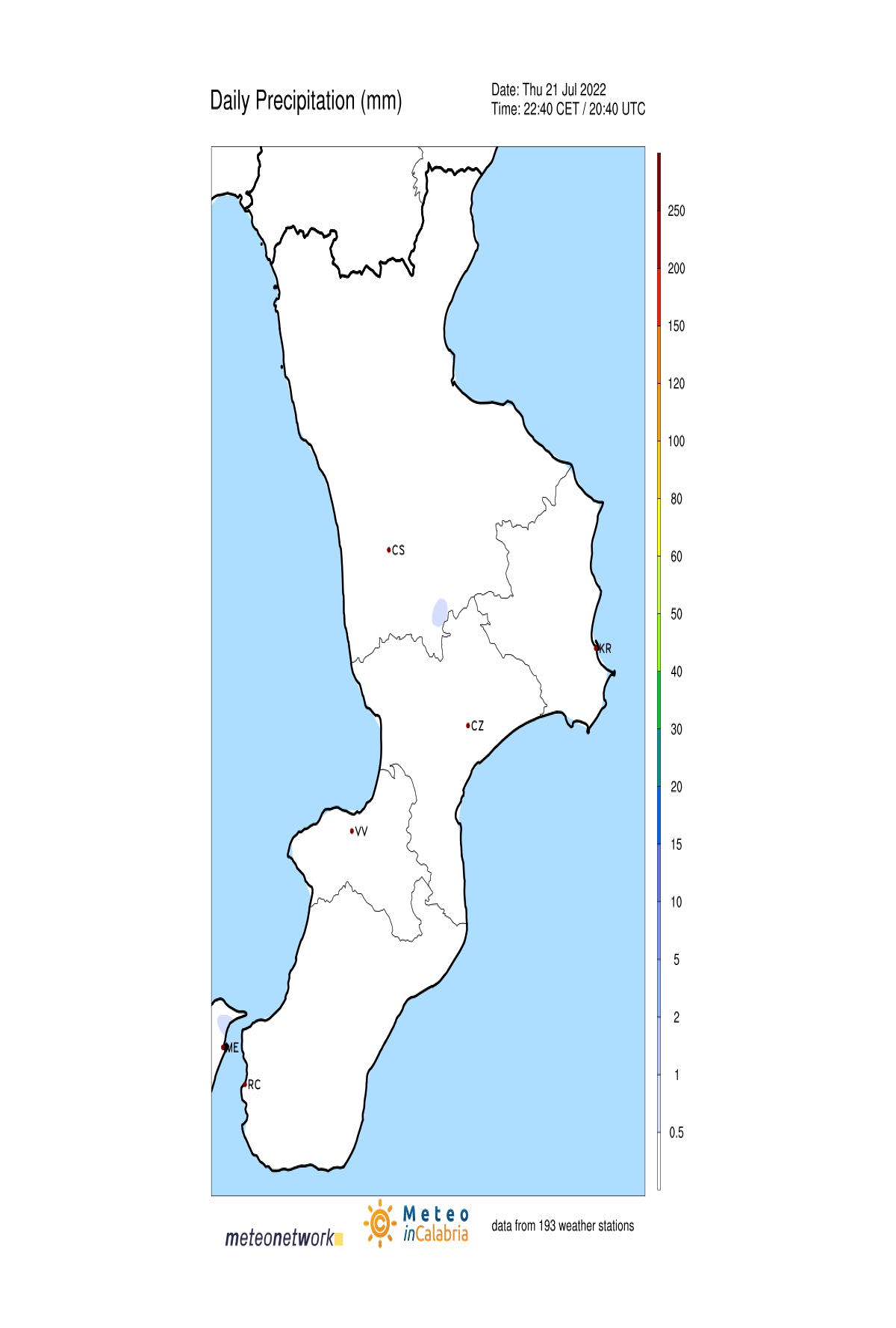 Mappa Live delle precipitazioni in Calabria