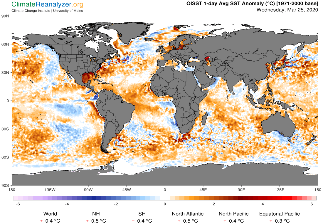 Anomalie di temperatura dei mari di ieri