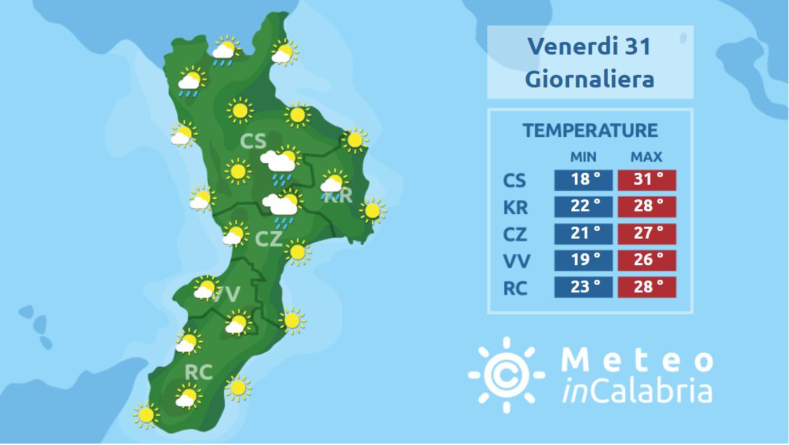 Locali fenomeni instabili sulla Calabria