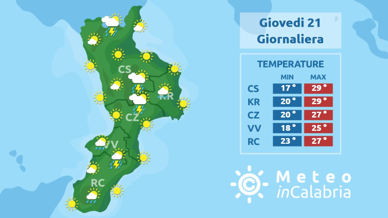 Giovedì e venerdì in Calabria