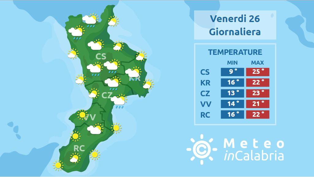 Frequenti episodi instabili ma non su tutta la Calabria