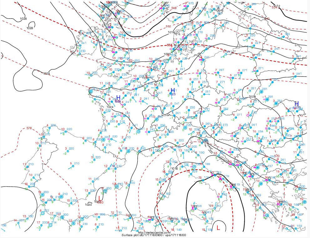 Vortice ciclonico sul Mediterraneo