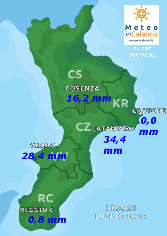 Resoconto climatico di luglio 2018 in Calabria