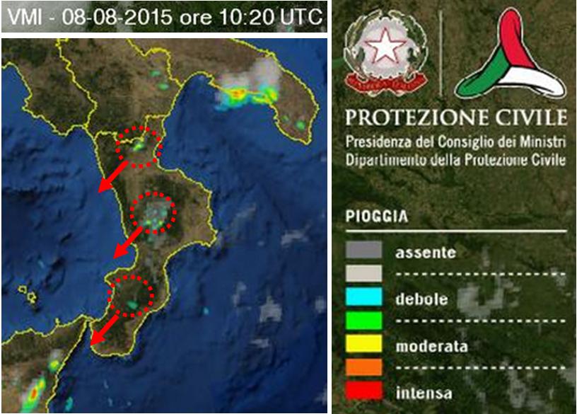 I temporali in atto oggi sabato 8 agosto 2015