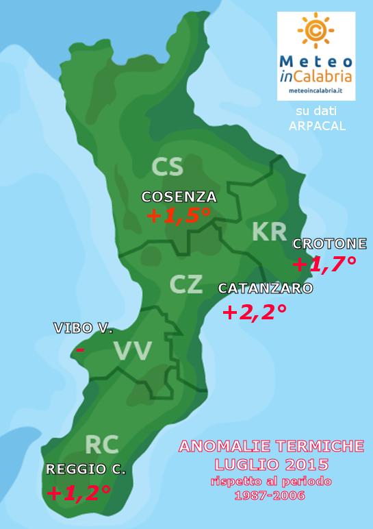 Resoconto climatico di luglio 2015: caldissimo ovunque con picchi di pioggia nel cosentino
