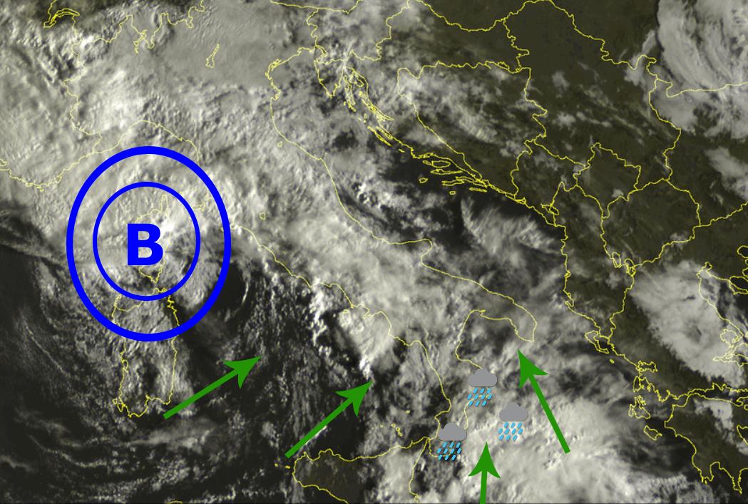 Nuvolosità diffusa e piogge, localmente forti