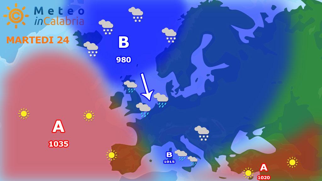 Piogge sparse, temperature in media