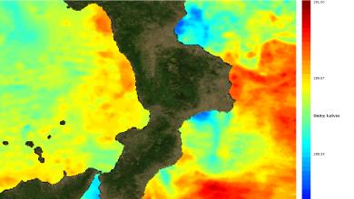 La mappa di temperatura dei mari calabresi