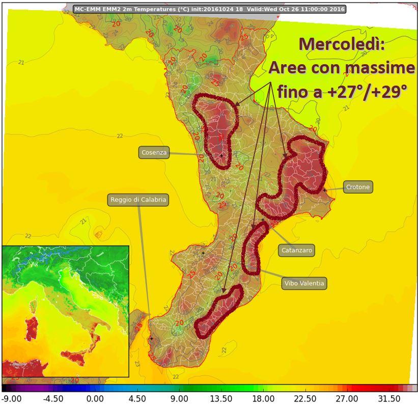 Mercoledì picco del caldo, poi calo delle temperature di quasi 10°!