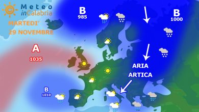 Martedì e mercoledì con freddo secco, vento moderato/forte e un po' di neve su sila greca...