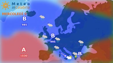 Meteo di mercoledì e giovedì:piogge sparse e brusco calo termico!!
