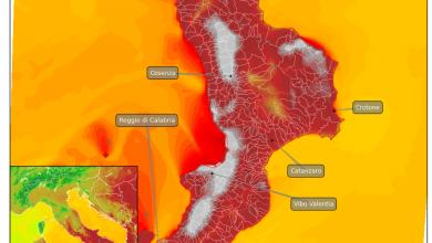 VENERDI' IL CLOU DEL CALDO: PREVISTI 40° (E OLTRE) SU MOLTE LOCALITA' CALABRESI!