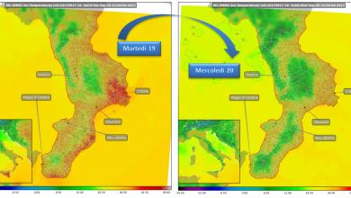 Mercoledì abbassamento delle temperature, piogge sparse e venti intensi sulla Calabria