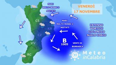 Venerdì con vortice ciclonico vicino alle coste crotonesi. Maltempo diffuso su aree ioniche: ecco i dettagli.
