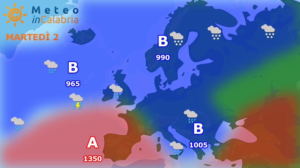 Martedì intenso maltempo con neve sui monti e forti venti. Mercoledì debole instabilità...