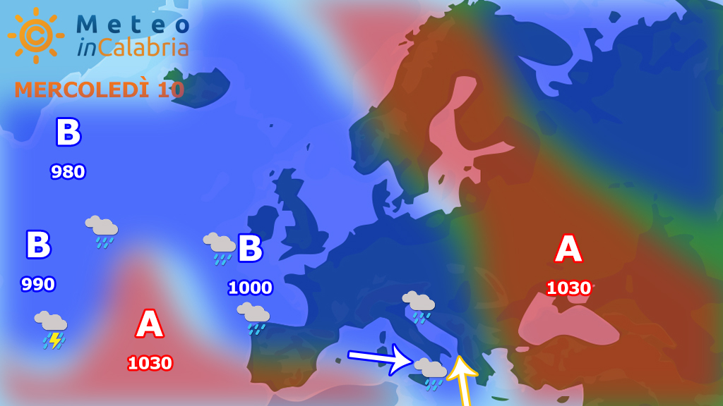 Peggioramento imminente a partire dai settori ionici meridionali