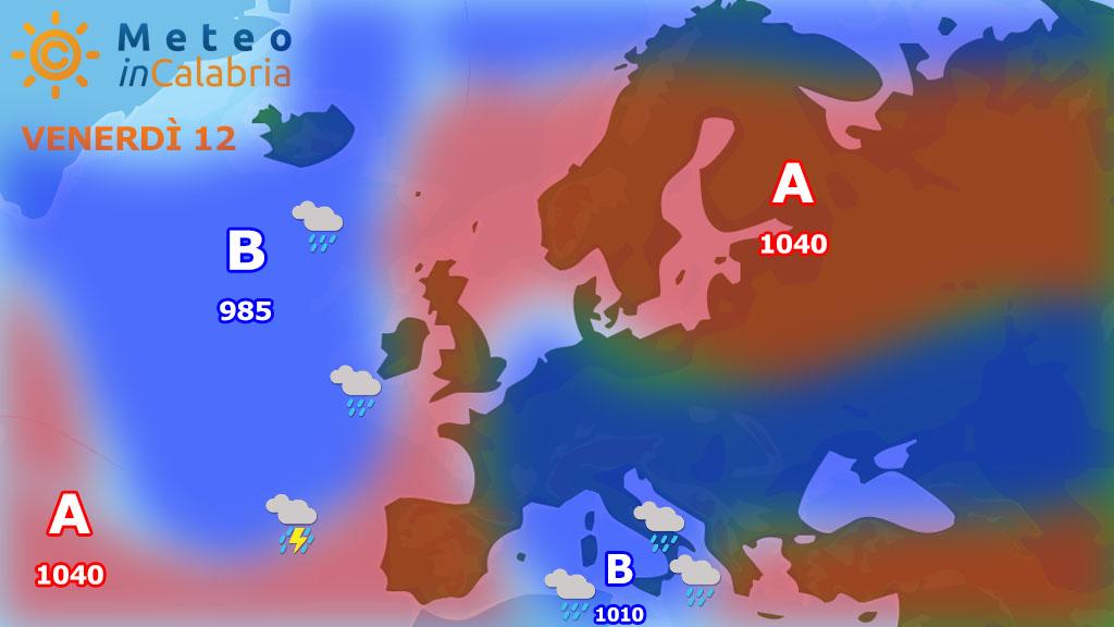 Meteo di venerdi e sabato: peggioramento specie sui settori ionici, torna la neve sui monti