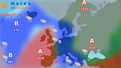 Lunedì e martedì debole instabilità sulla Calabria...