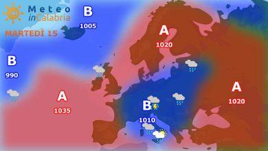 Meteo di martedì e mercoledì: veloce peggioramento sulla Calabria.
