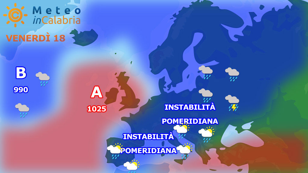 Venerdì e sabato Calabria alle prese con locali fenomeni instabili.