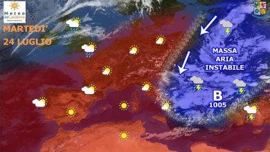 Meteo di martedì e mercoledì: temperature gradevoli con locali fenomeni instabili...