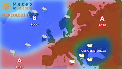 Meteo di mercoledì e giovedì in Calabria: ancora locale instabilità pomeridiana...