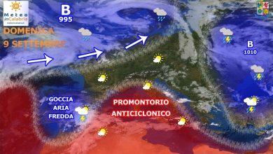 Domenica e lunedì nuvolosità sparsa e piovaschi localizzati...