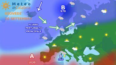 Calabria ai margine del vortice ciclonico sardo: per giovedì instabilità sparsa...
