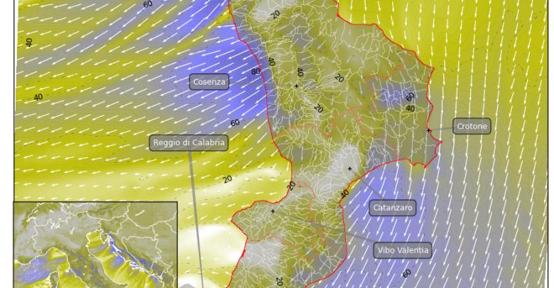 Focus venti per martedì in Calabria: localmente venti di burrasca...