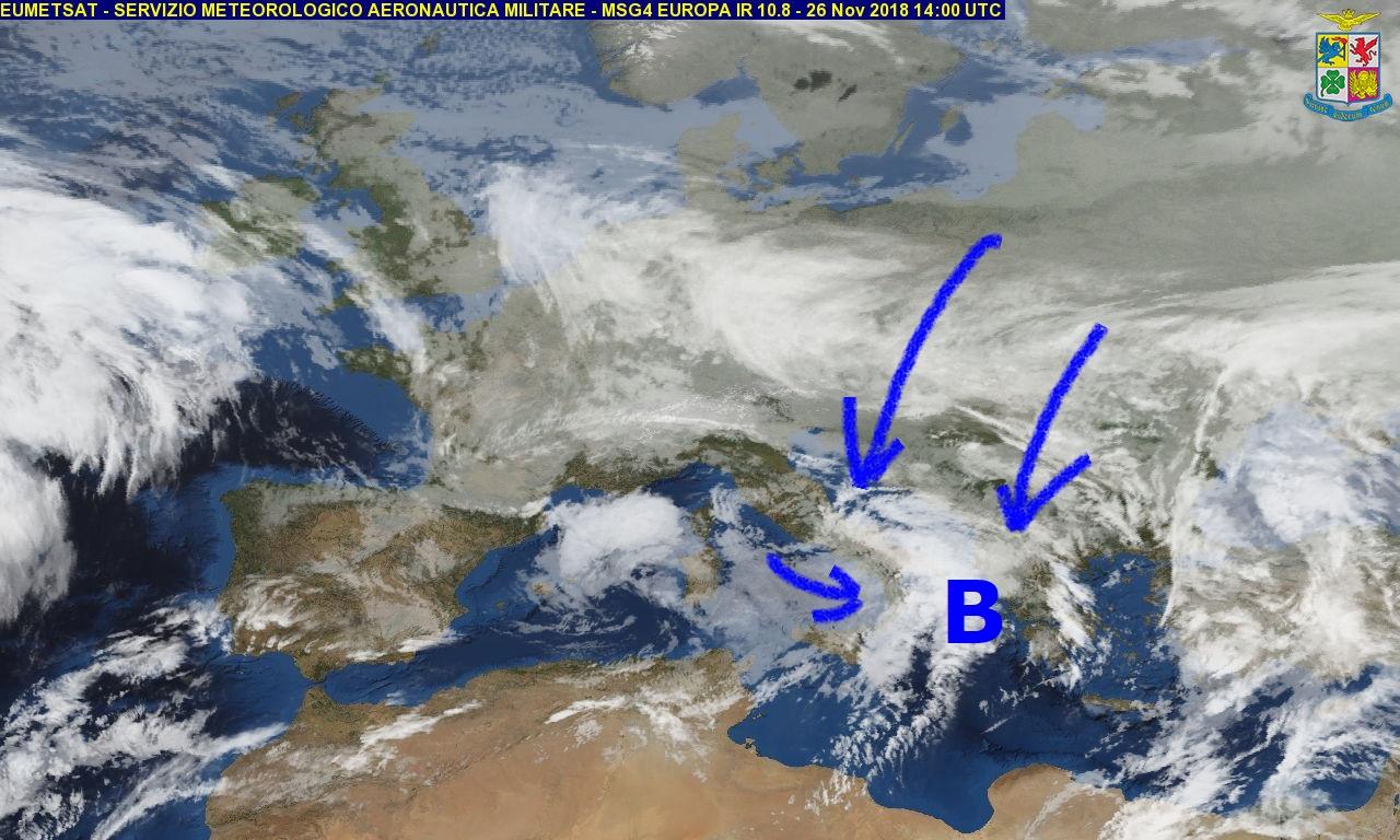 Meteo di martedì e mercoledì: continua la fase instabile specie sui versanti tirrenici.. da mercoledì calo delle temperature