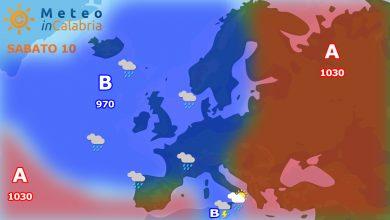 Meteo di sabato e domenica: spiccata variabilità con qualche pioggia sui settori ionici