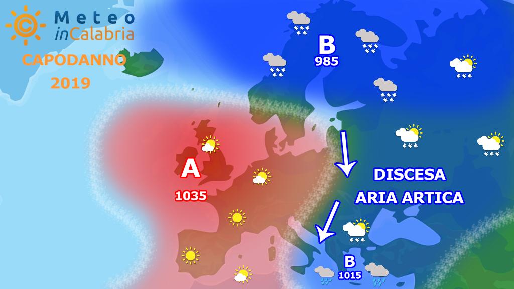 Focus sulla tendenza del tempo per Capodanno: freddo secco e localmente ventoso.