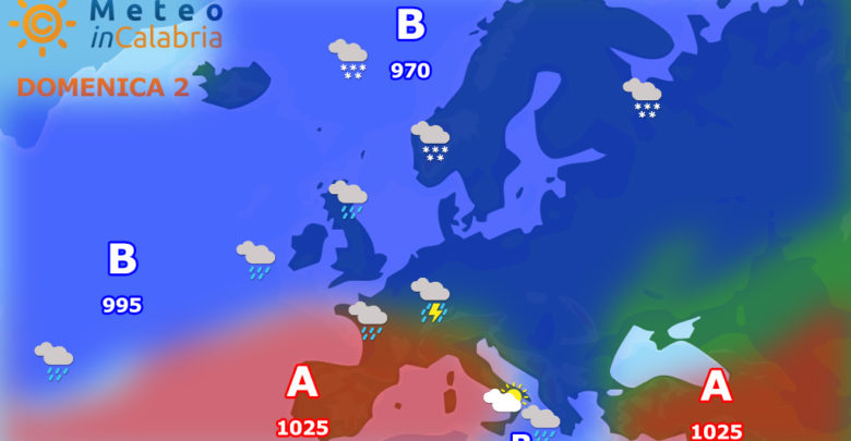 meteo di domenica e lunedì: ultime piogge sui settori ionici, seguirà un miglioramento.