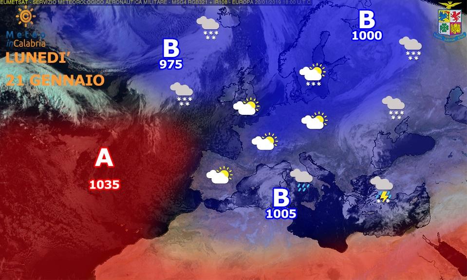 Da lunedì pomeriggio peggioramento del tempo a partire dai versanti ionici meridionali
