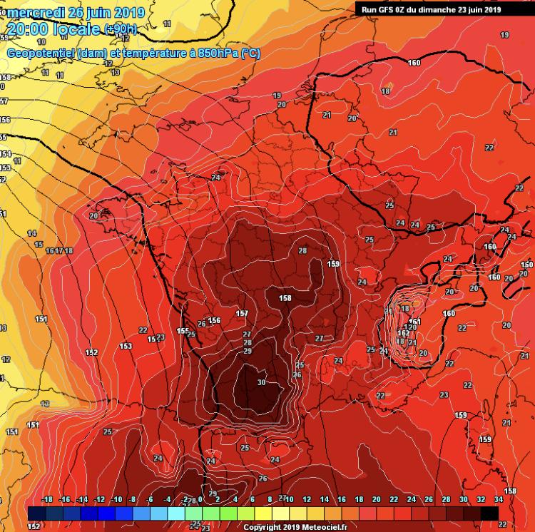 Temperature 850 hpa francia caldo intenso