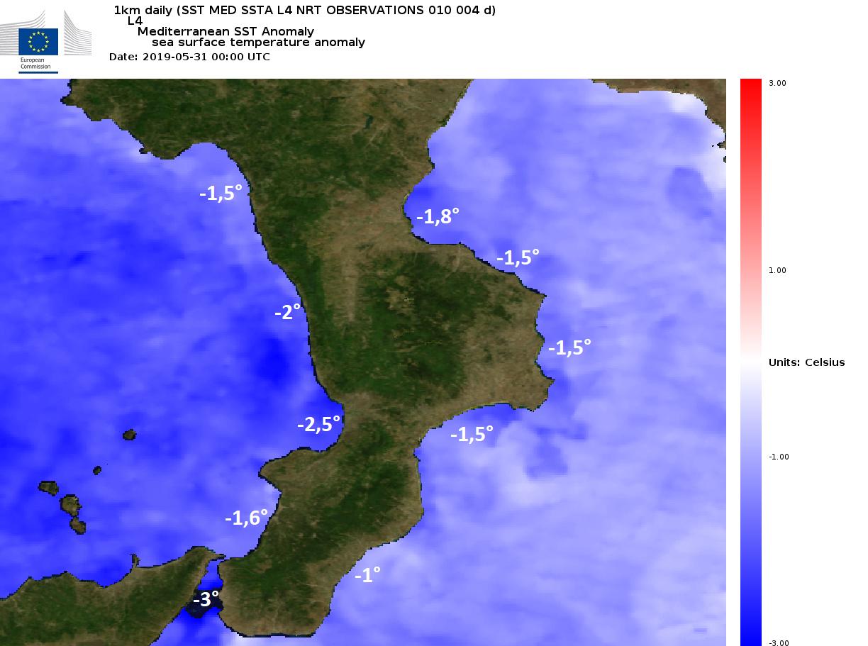 Un maggio anomalo ha reso i mari calabresi insolitamenti freddi, fino a 3° sotto le medie.