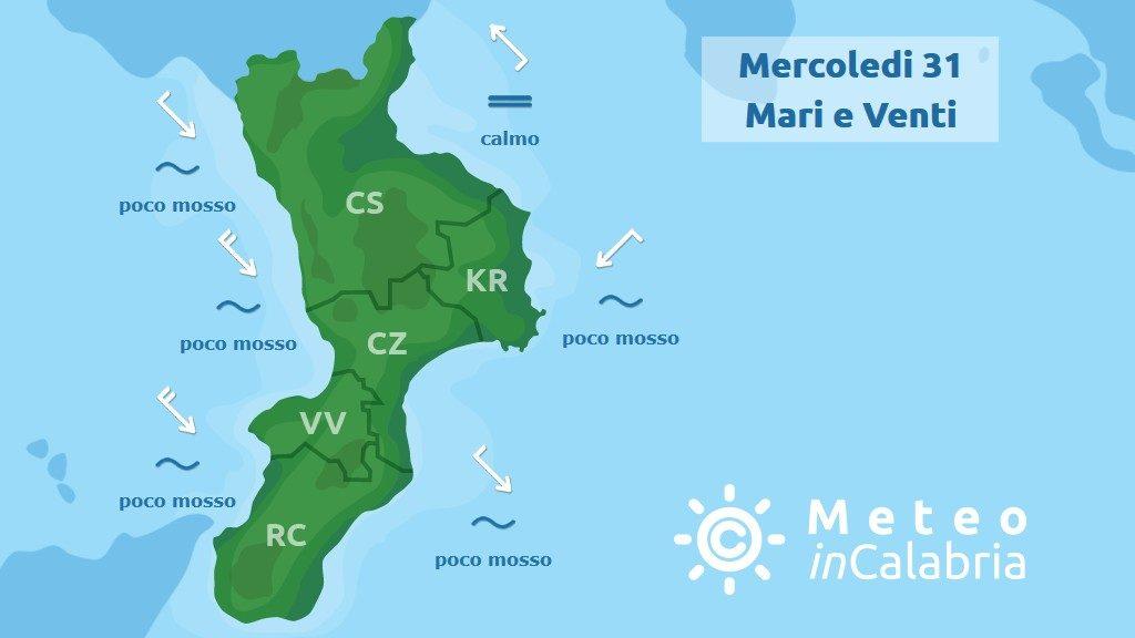 previsione mari e venti in Calabria per mercoledì 31 luglio 2019