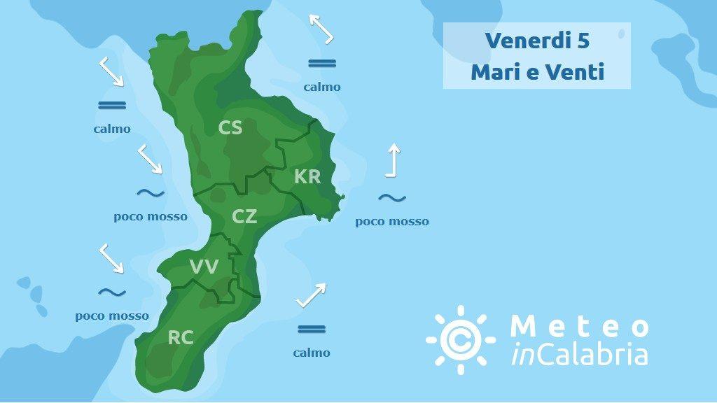 Previsione meteo mari e venti in Calabria per venerdì 5 luglio 2019
