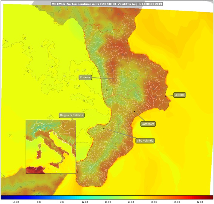 Temperatura prevista al suolo in Calabria per giovedì 1 agosto 2019