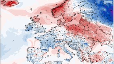 anomalie temperature 2 m europa gfs 29 luglio 2019
