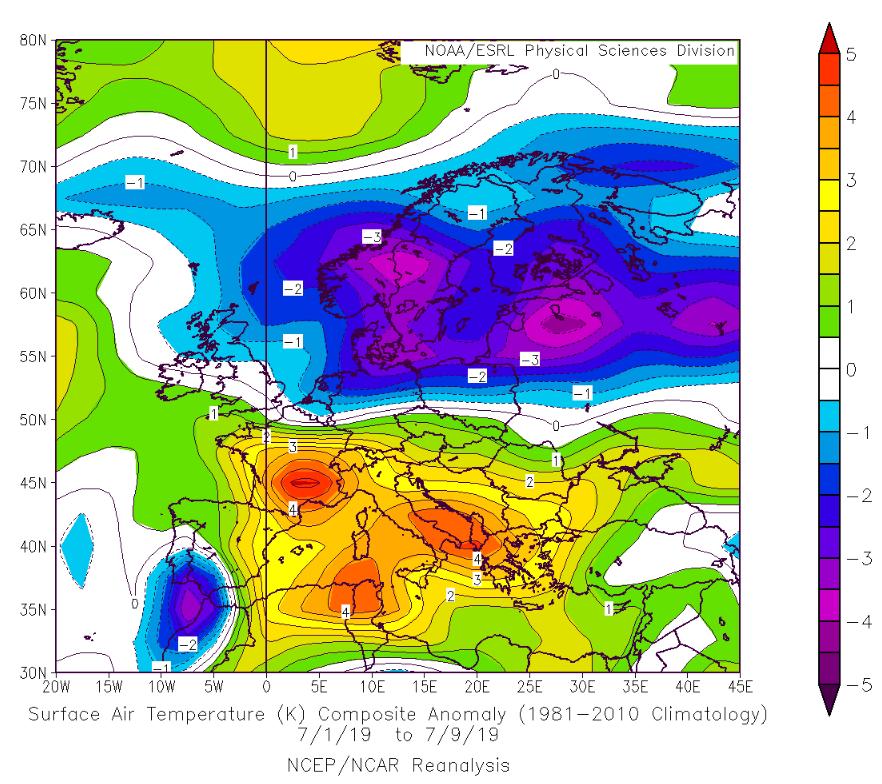 anomalie temperature medie europa 1-9 luglio 2019