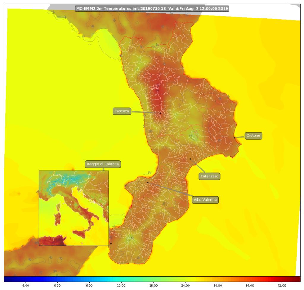 mappa temperatura 2 m wrf calabria 2 agosto 2019