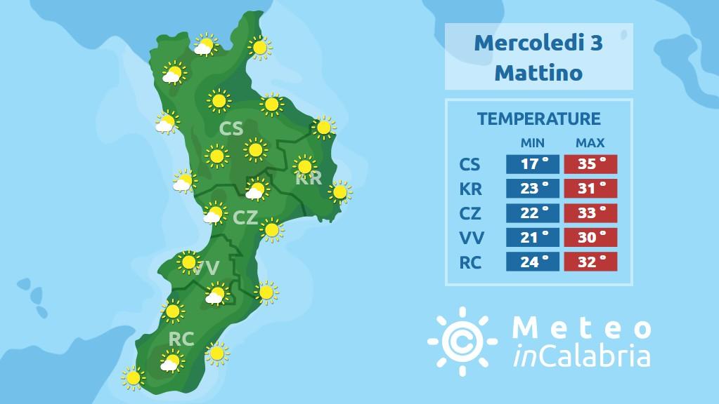 Previsione meteo in Calabria per mercoledì 3 luglio 2019