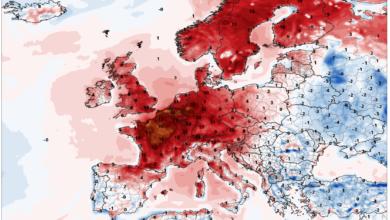 temperatura 2 m anomalie europa 25 luglio 2019