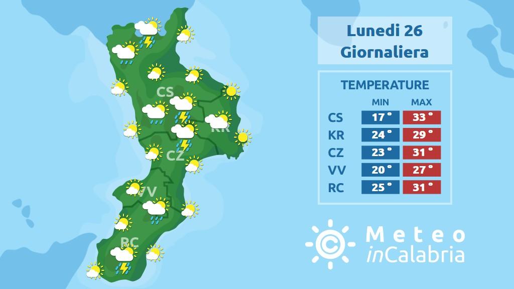 previsione meteo in calabria per lunedì 26 agosto 2019