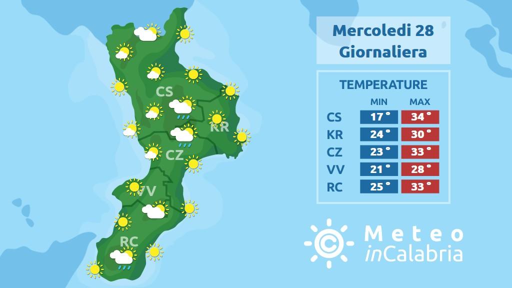 precipitazioni previste in calabria per mercoledì 28 agosto 2019