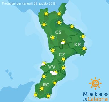 Previsioni Meteo Calabria 09-08-2019