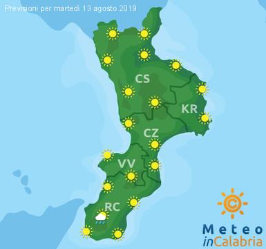 Previsioni Meteo Calabria 13-08-2019