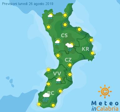 Previsioni Meteo Calabria 26-08-2019